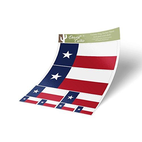 Texas TX State Flag Sticker Decal Variety Size Pack 8 Total Pieces Kids Logo Scrapbook Car Vinyl Window Bumper Laptop Texan ()