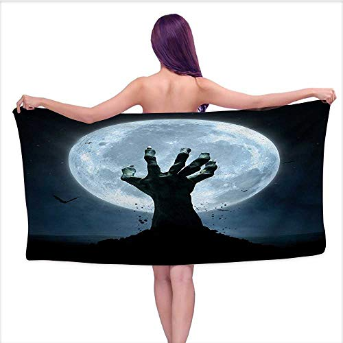 Onefzc Home Towels Halloween Realistic Zombie Earth Soil Full Moon Bat Horror Story October Twilight Themed for Bathroom, Shower Towel, Gym W40 x L20 Blue Black