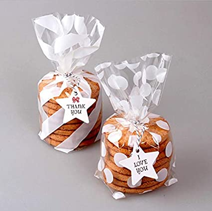 White Cello Bags 5x8 inch for Treat Candy Cookie Party Favor Bags,White Stripe and White Dot,Pack of 200