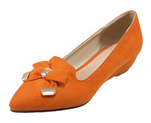 SHOWHOW Women's Comfy Solid Suede Bow Pointy Low Top Slip On Low Wedge Heel Platform Pumps Shoes Orange 9 B(M) US by SHOWHOW