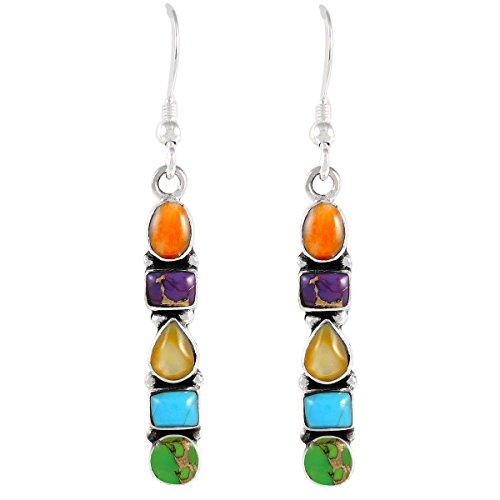 - 925 Sterling Silver Earrings in Genuine Turquoise & Gemstones (Multi-Gemstones)