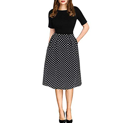 Clearance! Swiusd Women's Polka Dot Patchwork Dresses Cute Knee Length Boho Midi Dresses Retro Short Sleeve Beach Party Dresses (Black, XXL-US 12) ()