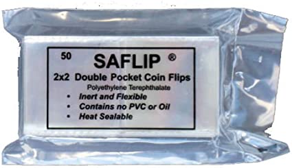 Pack of 50 Saflips 2.5 x 2.5 Coin Collecting Flips Double Pocket Free Shipping