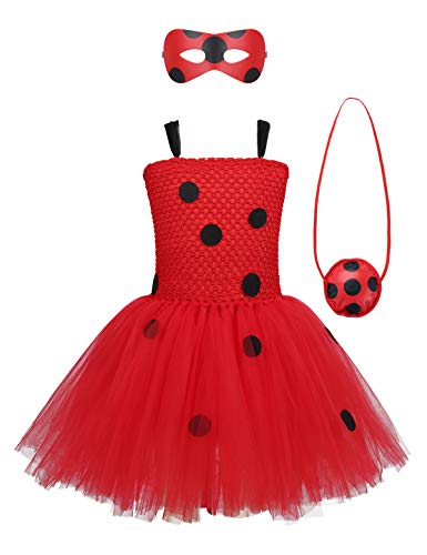 Freebily Kids Girls Lady Bug Outfits Costume Girls Little Beetle Suit Marinette Cosplay Jumpsuit for Halloween Performance Red Polka Dots Mesh Tutu Dress with Eye Mask Bag 3-4