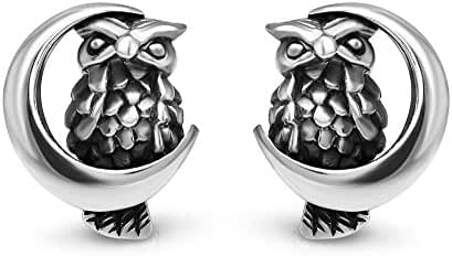 925 Sterling Silver 13 mm Midnight Wisdom Owl On A Crescent Moon Symbol Post Stud Earrings