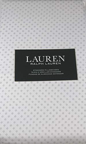Lauren Standard Small Geometric Design Pillowcases 100% Cotton Light Gray on White 2 Pack