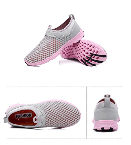 Breathable Workout Exercise Water Mesh Sneakers Shoes Aqua Men's Summer Drying Quick Sport for Pink Casual Hiking Athletic Homieco Loafers Running Beach Walk Slip Outdoor Wetsuit On Women's nqXYS8wnv