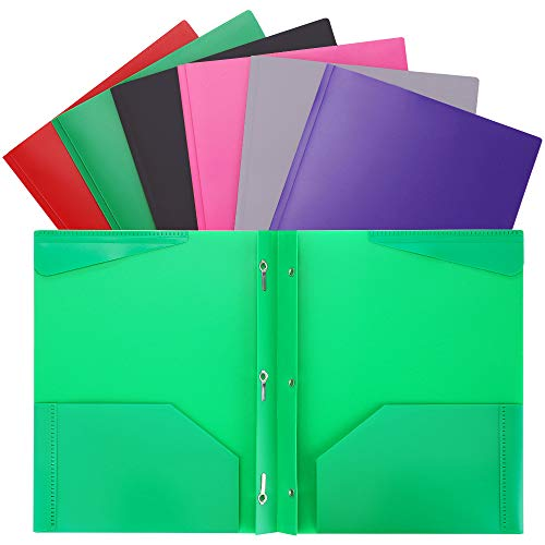 - Plastic Folders with Prongs and Pockets Heavy Duty 2 Pocket Plastic Folders for Letter Size Papers 6/Pack Assorted Colors WOT I