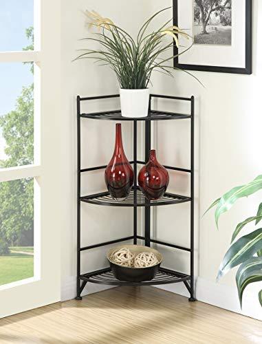 Convenience Concepts 8022B Designs2Go X-Tra Storage 3-Tier Folding Metal Corner Shelf Black