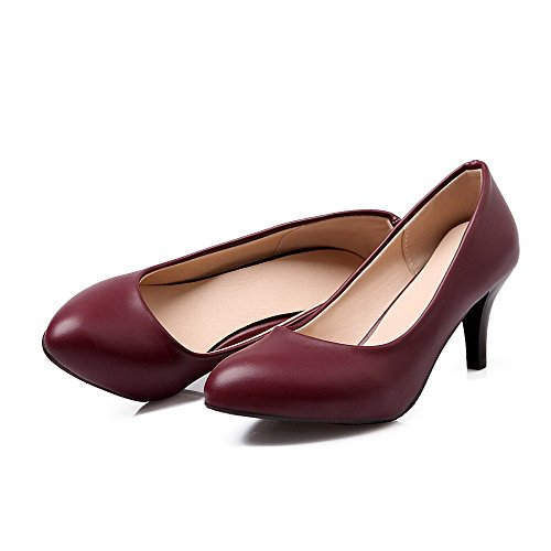 AmoonyFashion Womens Pull-on Pointed Closed Toe Kitten-Heels PU Solid Pumps-Shoes Claret nVNveq