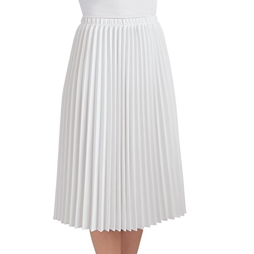 Women White Collection (Collections Etc Women's Pleated Mid Length Midi Skirt, White, Medium - Made in The USA)