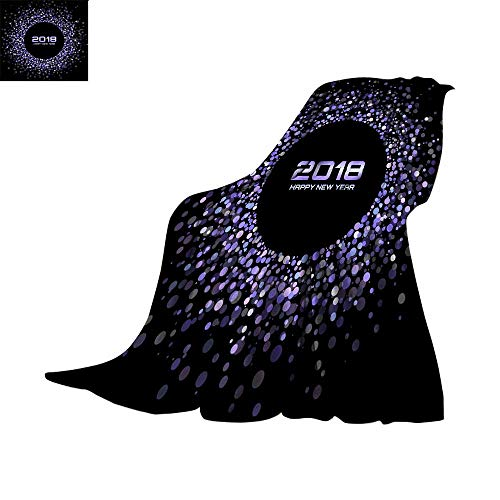 - Lightweight Thermal Blankets Digital Printing WarmVector Happy New Year 2018 Card Background Violet Bright Disco Lights Halftone Circle Frame Round border using blue confetti cirThrow Blanket 60