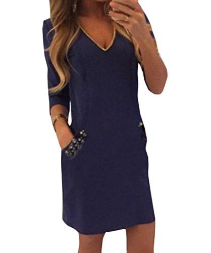 Coolred-femmes De Couleur Unie Col V À Manches 3/4 Vogue Robe Moulante Mi Bleu Violacé