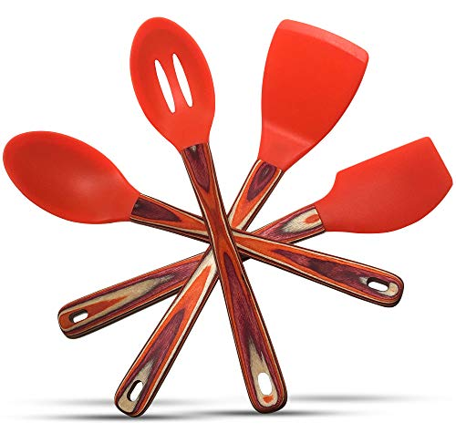 Silicone Spatulas and Cooking Spoons – Kitchen Utensils Gift Box Set of 4 with Pakkawood Handles in Orange/Red (Sunny Day) Kitchen Tools and Gadgets by Kitchen Charisma