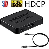 HDMI Splitter 1 x 2 Hdmi Switch 1 In 2 out Port Repeater HDMI Amplifier Switcher Box Hub Support 4K 3D 1080p with Power Supply