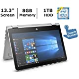 HP 13.3 HD Touchscreen Convertible 2 in 1 Laptop / Tablet, Intel Core i5-7200U, 8GB DDR4 Memory, 1TB Hard Drive, Windows 10