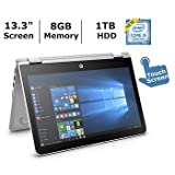 "2018 Newest HP 13.3"" HD Touchscreen Convertible 2 in 1 Laptop / Tablet, Intel Core i5-7200U, 8GB DDR4 Memory, 1TB Hard Drive, Windows 10"