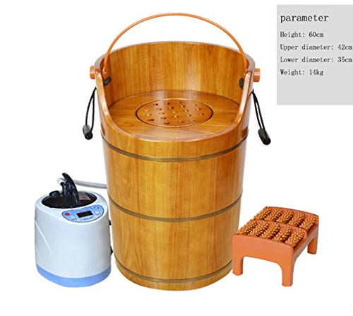 Bucket, steam Bucket, gynecological Sitting Smoke Barrel, Solid Wood Foot Bucket, Heated Foot Bath Barrel,Brown ()
