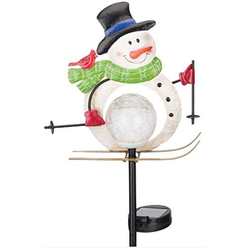- Regal Art & Gift 12031 Solar Snowman, Skiing Garden Stake, White Multi