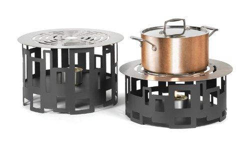 Rosseto SM106 Round Steel Buffet Warmer, 7-Inch, Black Matte