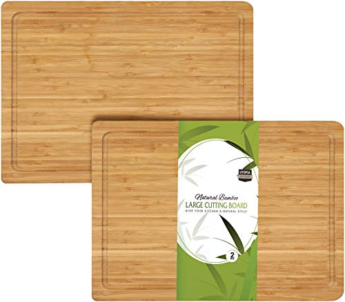 Utopia Kitchen Extra Large Bamboo Cutting Board 17 by 12 Inches (Bulk Pack of 2) (Cheese Wooden Boards)