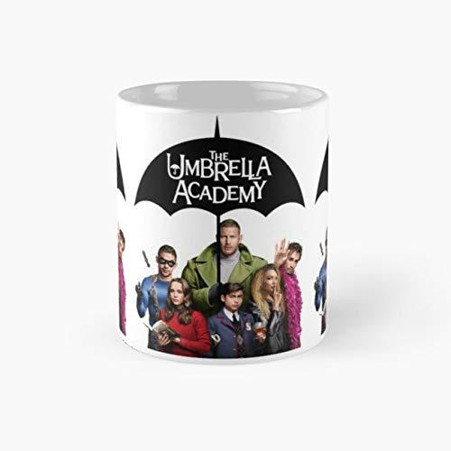 Umbrella Academy - The whole academy team Mug, academy Cup, 11 Ounce Ceramic Mug, Perfect Novelty Gift Mug, Funny Gift Mugs, Funny Coffee Mug 11oz, Tea Cups 11oz (Umbrella Academy Mug)