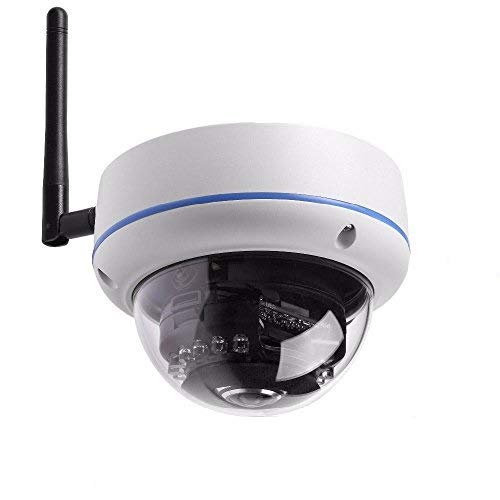 less WIFI IP Network Outdoor Dome Camera, Home Surveillance CCTV Camera, 3.6mm Lens Wide Angle, 14 Leds Night Vision, Weatherproof / Waterproof ()