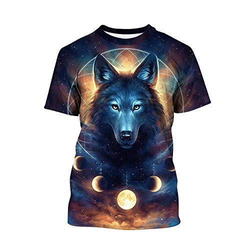 Tsyllyp Boys Girls Summer Short Sleeve Crew T-Shirts Animal Wolf 3D Print -