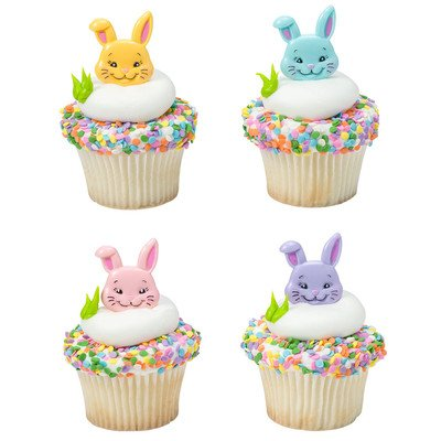 Easter Bunny Love Cupcake Topper Rings and Picks 24 pk