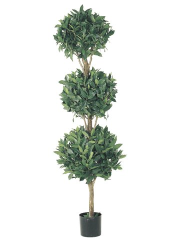Allstate Set of 2 Potted Artificial Sweet Bay Triple Ball Topiary Trees - Topiary Bay Sweet