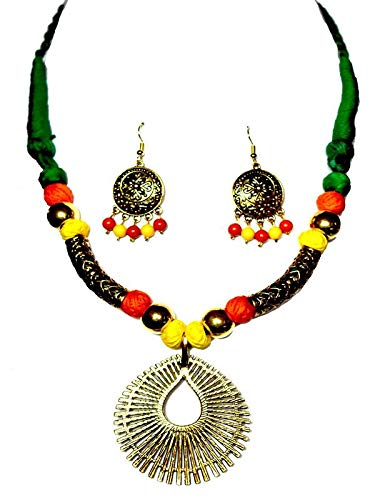 a1b507e73 Handmade Necklace Set of Cotton Thread Balls and Beads with a Gold Plated  Locket and Earrings