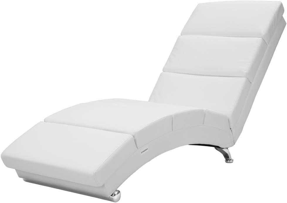 Sillón Relax Tumbona London | Color: Blanco | salón | Cuero Artificial | Ergonómica | 173x55cm | Diseño Moderno
