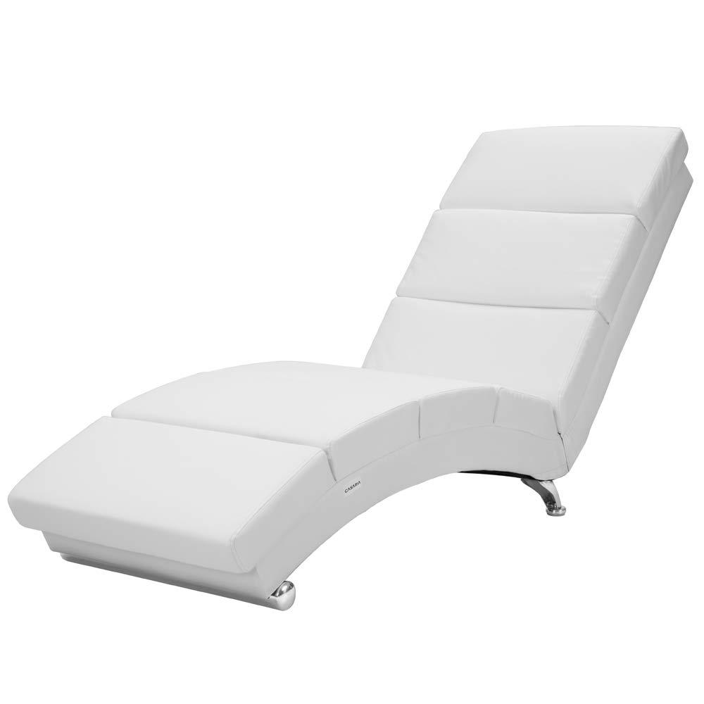 Casaria Sillón Relax Tumbona London | Color: blanco | salón | Cuero artificial | Ergonómica | 173x55cm | Diseño moderno