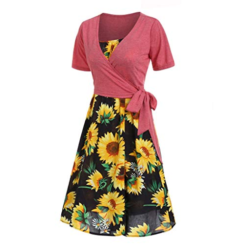 Womens Sunflower A-line Dress Short Sleeve Deep V-Neck Shirt Dress Slim Short Swing Sundress Knee Length Midi Dress
