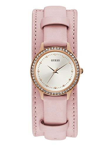 GUESS  Rose Gold-Tone + Pink Genuine Leather Cuff Watch. Color: Pink (Model: -