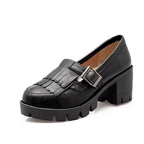 AllhqFashion Damen Weiches Material Rund Zehe Mittler Absatz Ziehen auf Rein  Pumps Schuhe Schwarz