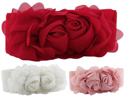 Flower Wide Waist Belt For Dress, BONAMART Lace Elastic Belts For Girls Ladies Womens