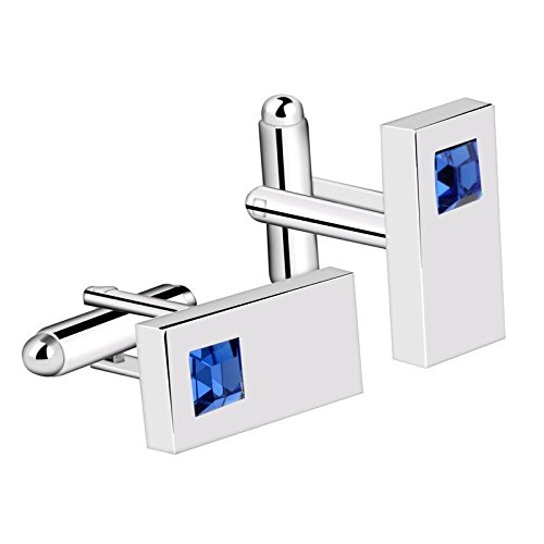 Plated Polished Rectangle Cufflinks (Blue Mens Cufflinks Diamond Crystal Rectangle Silver Plated Suit Cuff Links)