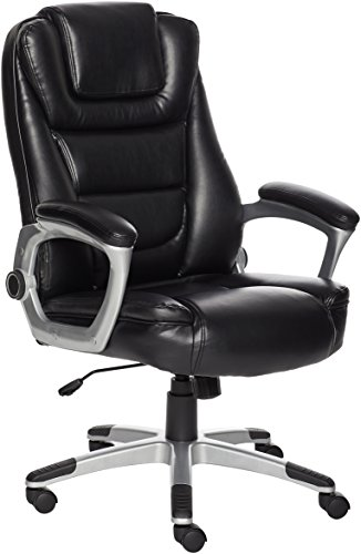 (AmazonBasics High-Back Office Desk Chair - Comfortable Leather, Easy Tool-Free Assembly - Black)