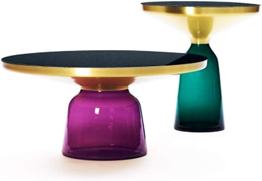 Verzending Over De Hele Wereld ZRRtables 2-delige set glazen tafel salontafel modern woonkamertafel ronde bijzettafel mini salontafel met metalen frame van messing voor thuis, woonkamer, eetkamer E 8qUwR6q