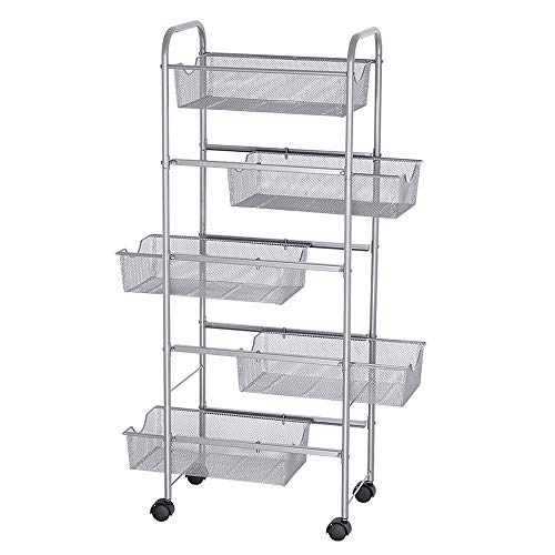 NEX Storage Cart Organizer with Drawers Basket Wheels Durable Mesh Wire Rolling - Wire Mesh Carts