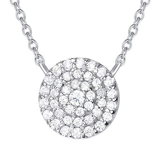 Agvana 925 Sterling Silver Cubic Zirconia CZ Pave Round Disc Pendant Necklace Dainty Chic Jewelry Gifts for Women Girls with Exquisite Gift Box, 16