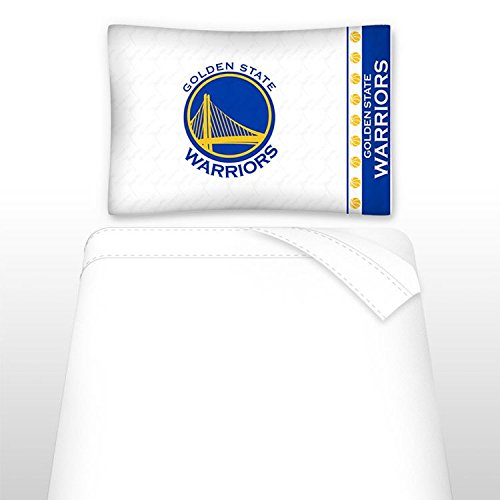 Sports Coverage NBA Golden State Warriors Micro Fiber Sheet Set, Twin, White by Sports Coverage