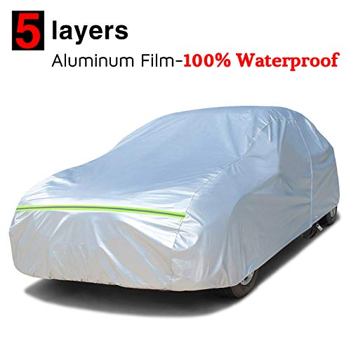 KAKIT Car Cover Waterproof All Weather, Full Cotton & Door Zipper, Sun...