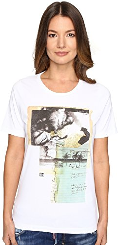 DSQUARED2 Women's Liza Glitter Faced Couple Jersey Tee White X-Large by DSQUARED2