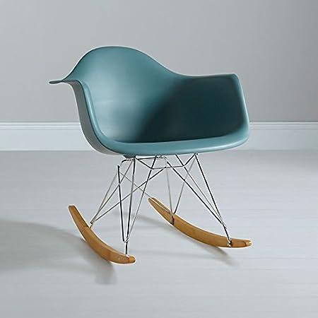 Mmilo® Rocking Chair Eiffel Inspired Rocker Armchair Retro Design With  Plastic Seat And Chrome Metal