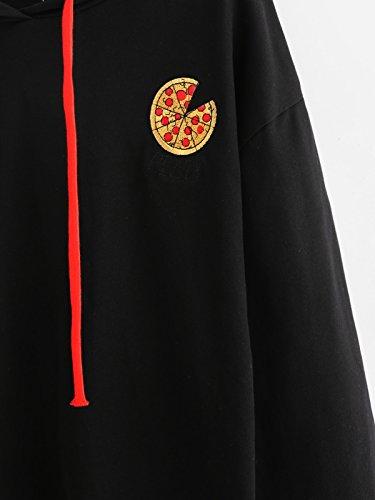 Felpa Ragazza,Kword Donna Pizza Stampata Maglione Felpa Con Cappuccio Ritaglio Top Print Pullover