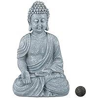 relaxdays Estatua Buda Sentado para Jardín o Salón