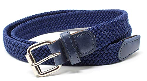 (Kids Braided Elastic Woven Stretch Belt Chrome Buckle and Leather Tip (Navy-M))