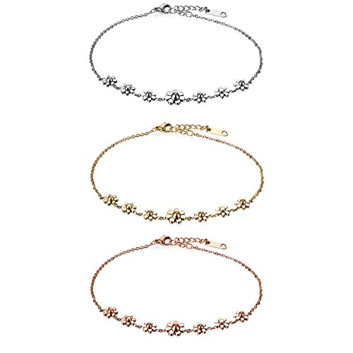 Flongo Womens Girls 3PCS Vintage Stainless Steel Daisy Flowers Link Bracelet Birthday Valentine Daisy Anklet for Women, 8.66 inch by Flongo